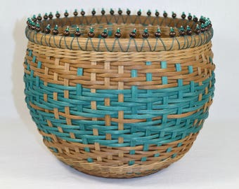 """BASKET WEAVING PATTERN """"Yvonne"""" Table Vase Basket with Bead and Crystal Accent"""