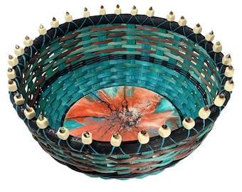 """BASKET PATTERN  - """"LILLIANA"""" - Beaded Rim Table Basket on Acrylic Poured Wood Base"""