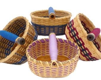 "BASKET WEAVING KIT ""Poppy"" Antique Thread Spool Oval Table Basket"