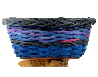"BASKET PATTERN  - ""MATILDA"" - Braided Rim Table Basket with Sublimation Tile Wood Base"
