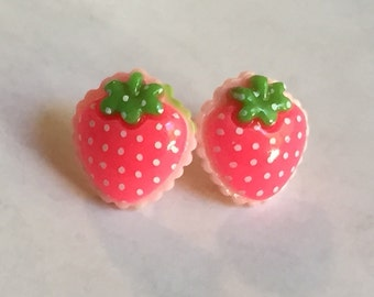 Sweet Berry Stud Earrings - Strawberry Surgical Steel Studs, Post