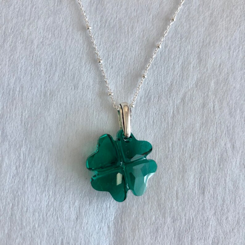 f96740730577c Lucky Clover Emerald Green Swarovski Crystal Pendant Necklace, Sterling  Silver Chain, Large Shamrock
