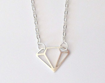 Minimalist Diamond Geometric Necklace, Silver Tone Chain