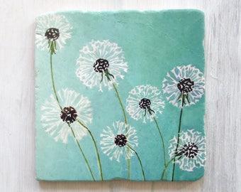 Trivet:  Dandelions on Aqua