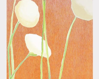 Large Art Print:  Cream Flowers on Orange
