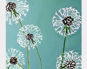 Large Art Print:  Dandelions on Aqua