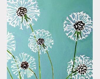 Print:  Dandelions on Aqua
