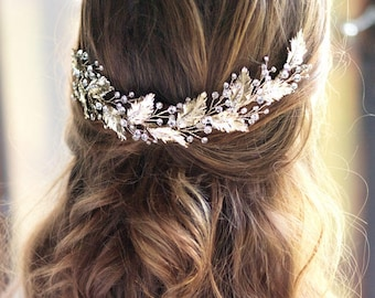 Floral Wedding Headpiece, Floral Bridal Back Piece, Bridal Headpiece, Wedding Back Comb, Leaf Headpiece, Bridal Hair Accessory, Bride - 7040