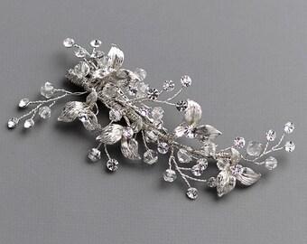 Swarovski Crystal Bridal Hair Comb, Floral Wedding Hair Comb, Bridal Hair Clip, Wedding Hair Accessory, Swarovski Comb, Bridal Comb - 7000