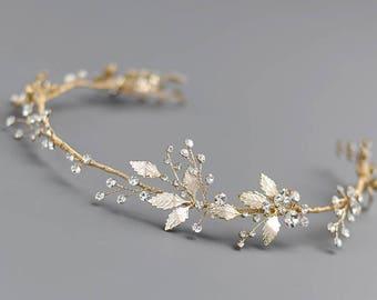 Floral Gold Wedding Headband, Gold Bridal Headband, Bridal Hair Accessory, Bridal Hair Vine, Gold Headpiece, Bridal Hair Accessory - 7018