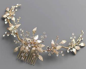 Gold Wedding Hair Comb, Floral Gold Bridal Hair Comb, Gold Bridal Comb, Gold Wedding Comb, Gold Headpiece, Bridal Hair Accessories - 7017