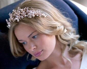 Gold Bridal Tiara, Freshwater Pearl Wedding Crown, Gold Wedding Tiara, Floral Bridal Crown, Bridal Hair Accessory, Wedding Headpiece - 7049