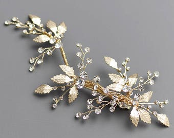 Floral Gold Bridal Hair Clip, Gold Bridal Hair Comb, Floral Wedding Hair Comb, Bridal Comb, Wedding Comb, Gold Headpiece, Floral Clip - 7016