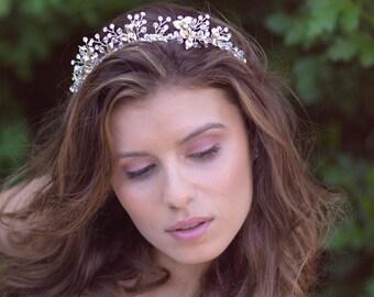 Gold Swarovski Crystal Wedding Tiara, Gold Bridal Crown, Gold Floral Wedding Crown, Gold Headpiece, Bridal Hair Accessories, Bride - 7003
