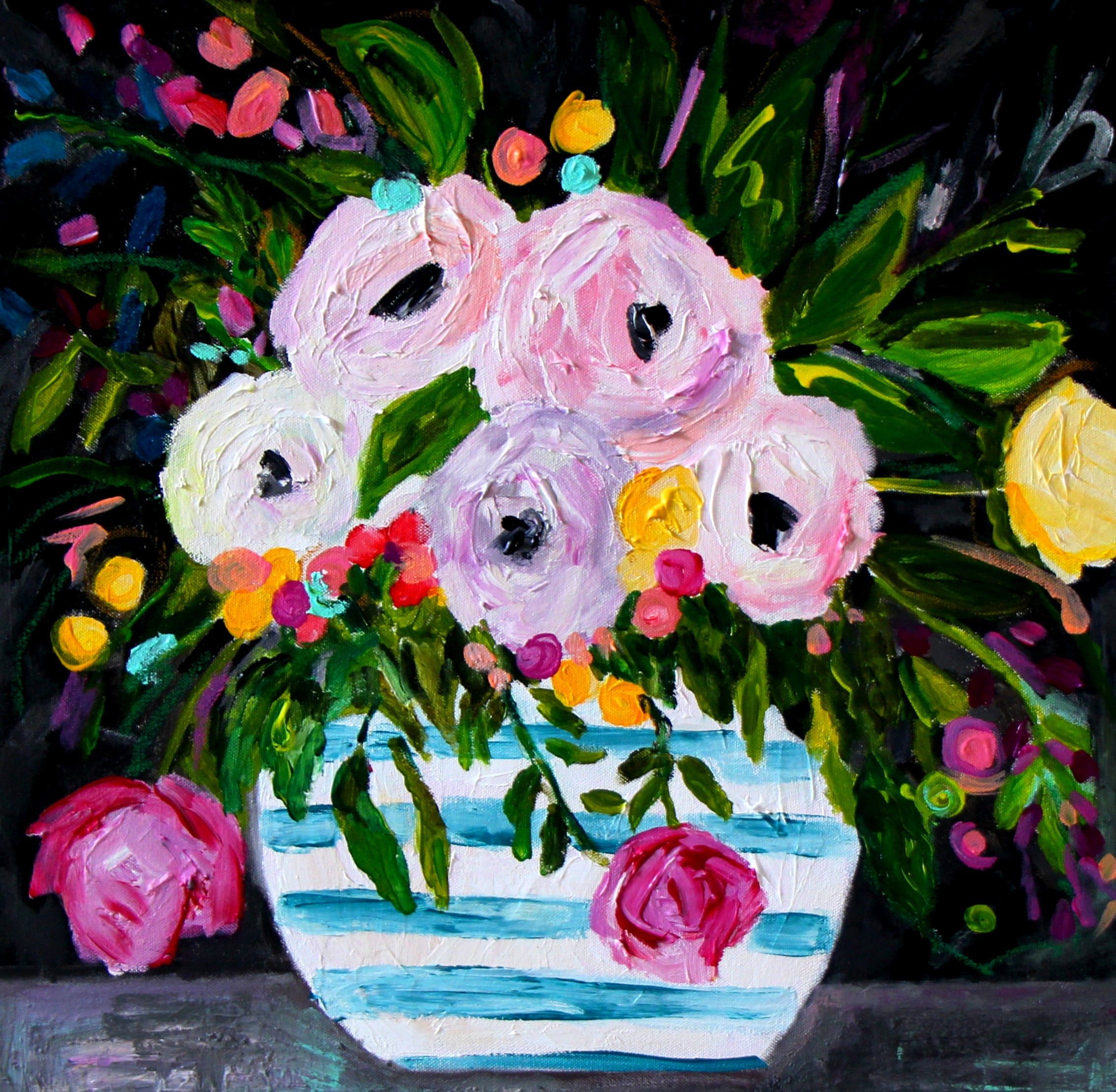 Floral Still Life Blue And White Ginger Jar Abstract Etsy
