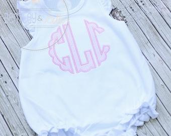 9c71992d0b17 Girls Monogram Baby Bubble - Ruffled Baby Romper - Monogram Ruffle Romper - Girl  Bubble Romper