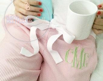 Custom Monogrammed Seersucker Lounge Pants - Ladies Pajama Pants - Monogrammed PJ Pants - Monogrammed Pajamas