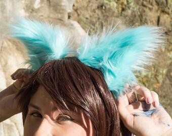 Turquoise Cyan Blue Costume Animal Wolf Fox Cat Ears Headband