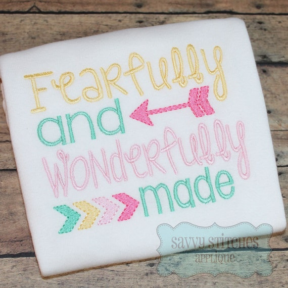Fearfully And Wonderfully Made Machine Embroidery Design Etsy