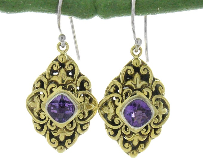 Amethyst Gemstone Gold Tone Dangle Earrings Vintage Art Deco Style Yellow Gold Tone Amethyst Style Filigree Dangle  Earrings Jewelry