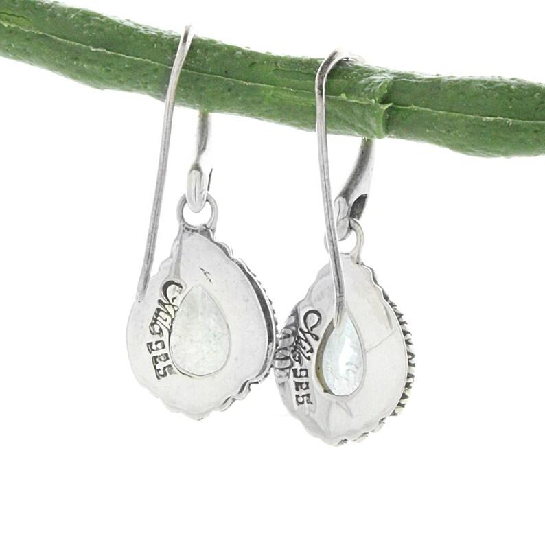 Silver Bali Earrings Sterling Silver Pear Shape  Blue Topaz Drop Earrings December Birthstone Blue Topaz Earring Blue Topaz Earrings