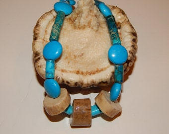 Deer antler pendant, turquoise beaded necklace, Native American jewelry, Native American gift, Native American necklace, turquoise jewelry