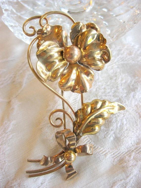 Elegant High End Retro 1940's Pansy Flower Brooch