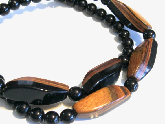 Mod Sleek Mid Century Black Lucite Bakelite & Wood