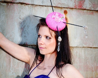 Crystal Pink - Fascinator Headwear Headpiece