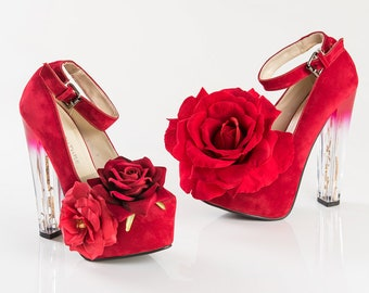 0059dc6081ee Rose Red Platform Chunky Clear High Heel Shoes
