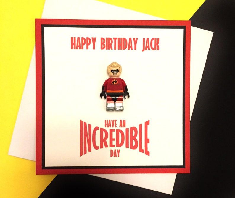 Incredibles choose your Incredible family figure Personalised Birthday Card