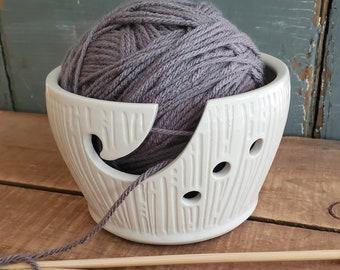 Ceramic Yarn Bowl, Handmade, white, Tip Resistant, Crochet, Knitting, Farmhouse, present, christmas, knitter crafter gift