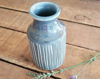 Gray Blue vase, small, ceramic. Mothers Day Gift, Birthday Present, Rustic Farmhouse, Natural, Christmas, Hannukah Handmade pottery.
