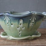 DISCOUNT Berry Bowl, Handmade, Ceramic, Green with blue rim, Colander, strainer, Mothers Day, Birthday, Wedding Gift, IN STOCK
