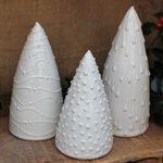 Ceramic Christmas Tree, Set of 3, Pottery, Crisp White, Table Centerpiece, Holiday Decor, Fireplace Mantle, Handmade, Ceramic, Decorations