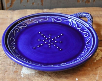Garlic Grater, Oil Dipping Dish, Cobalt Blue, Hostess, Housewarming Gift, IN STOCK, ready to ship