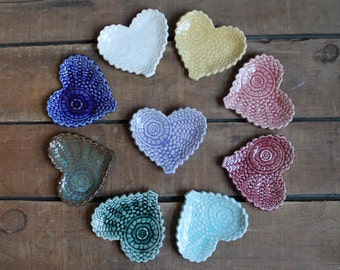 Antique Lace Heart, Valentines Day Present, Tea Bag Holder, Trinket Dish, Bridal Shower, Wedding Gift, party favor, IN STOCK, ready to ship