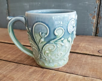 Handmade Ceramic Mug, Drippy Blue and Green, Raised Designs, Unique, Mothers Day, Christmas, Hannukah, Gift Present