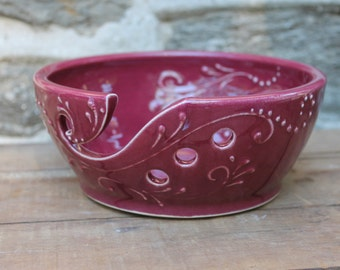 8 inch Wide Yarn Bowl, Crochet, Knitting, cranberry, IN STOCK, ready to ship