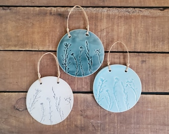 Wall hanging, botanical decor, small decorations, flowers Ceramic, Beach, Natural, Rustic, Farmhouse, Birthday, Present Gift