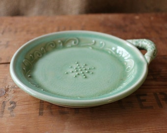 Garlic Grater, Oil Dipping Dish, Vine Design, Winter Green, IN STOCK, ready to ship