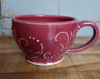Cranberry Handmade Ceramic Mug, unique gift, present, Christmas, last minute, Birthday, mothers day, IN STOCK, ready to ship