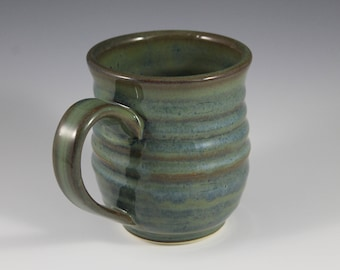Handmade Ceramic Mug, Green, blue, Birthday gift, mothers day, IN STOCK, ready to ship