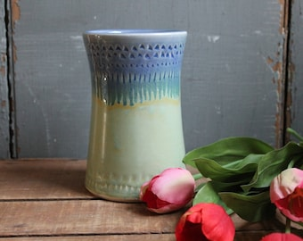 Flower Vase, light green, drippy blue, decorative, unique mothers day gift, wife, mothers day, anniversary, IN STOCK, Ready to Ship