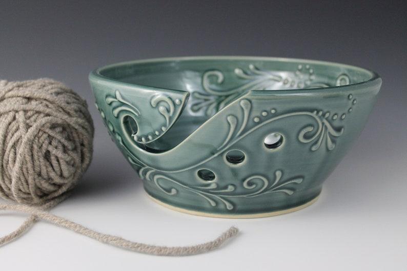 Ceramic Yarn Bowl 8 inch wide handmade teal tip resistant image 0
