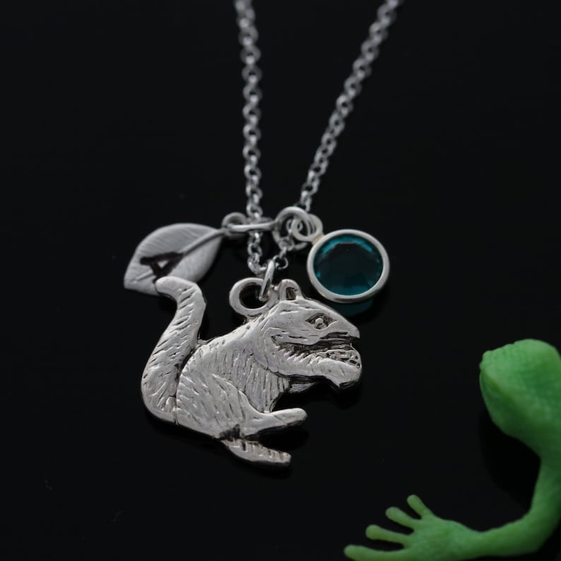 Squirrel necklace birthstone jewelry initial necklace personalized silver squirel necklace