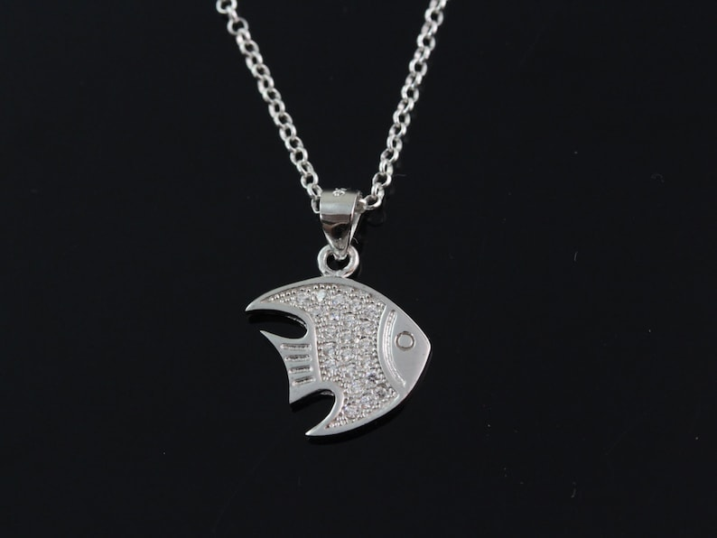 925 Sterling silver fish Necklace Silver fish necklace sterling fish pendant necklace sterling silver fish jewelry CHCZ 7180