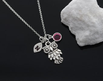 Owl necklace, personalized silver owl necklace, birthstone jewelry initial necklace