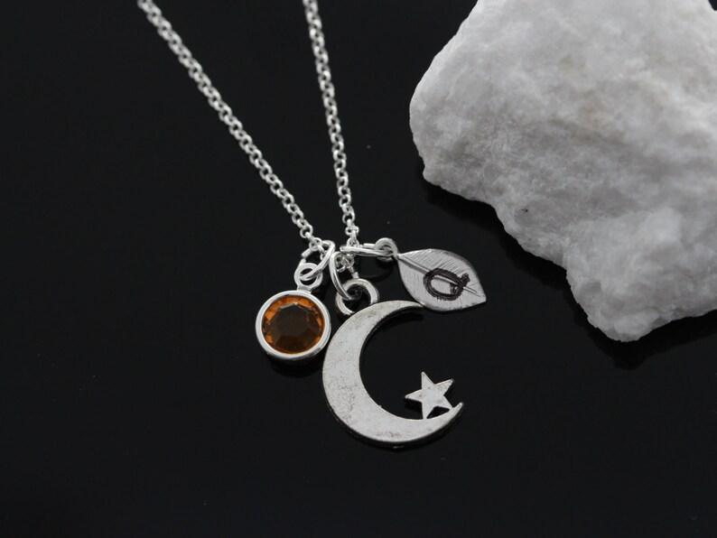 615c327fa0cf Personalizado Luna estrella collar inicial y piedra 925 cadena