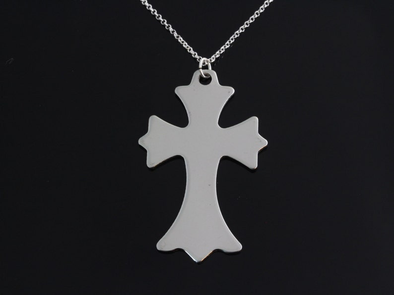 cross necklace Men cross necklace Large stainless steel cross pendant on sterling silver chain necklace large cross necklace
